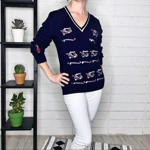 Vintage Cyn Les Golf Club V-Neck Pullover Sweater